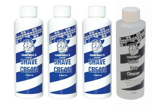 3 Campbell Liquid Latherizer Soap Shave Cream 8 oz & 1 Campbell's Cleaner 8 oz - Zeepk Beauty & Barber Supply