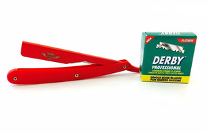 BARBER STRAIGHT RAZOR RASOIR SHAVE READY, 100 DERBY BLADES FULL RED