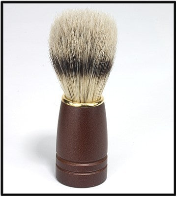 NATURAL BRISTLE SHAVING BRUSH w/DARK WOOD HANDLE