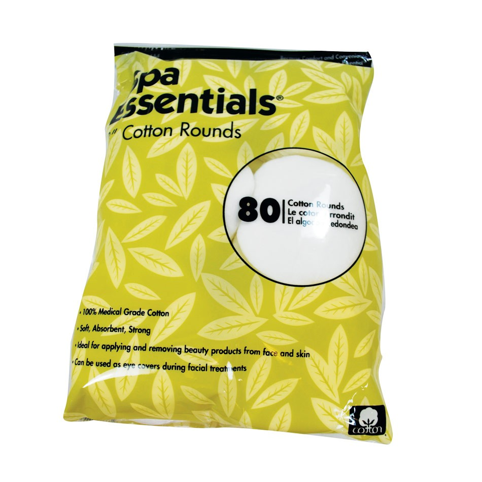 Spa Essential Cotton Rounds 80 count 2 inch