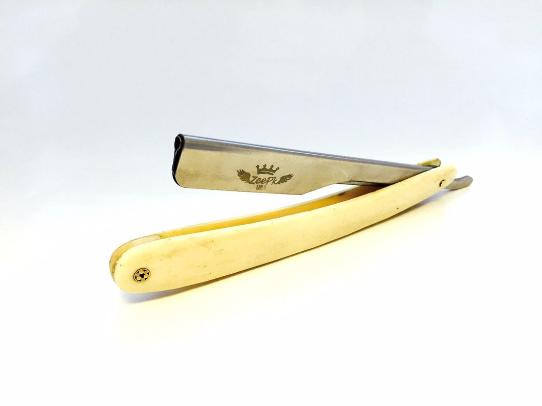 CUT THROAT SHAVETTE CAMEL BONE HANDLE STRAIGHT BARBER RAZOR RASOIR, 100 BLADES