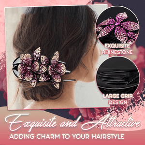 Rhinestone Brilliant Double Flower Hair Clip - 2PCS