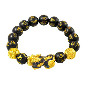 Natural Stone Black Obsidian Pixiu Bracelet (4 Colors Change Based On Temperature)
