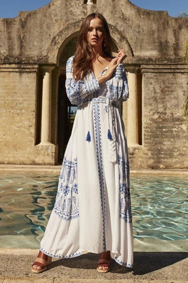 Boho Vintage Maxi Long Dress Böhmisch