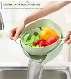 60% OFF-Double layer Wash basin Drain basket vegetables fruit Wash soak basket