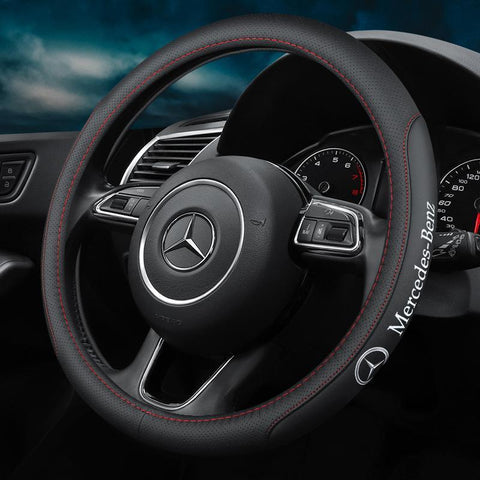 48%OFF-Last Day Promotion-Car Logo Handmade Leather Steering Wheel Cover