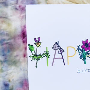 Happy Birthday Floral Card - Duck Egg Designs Co
