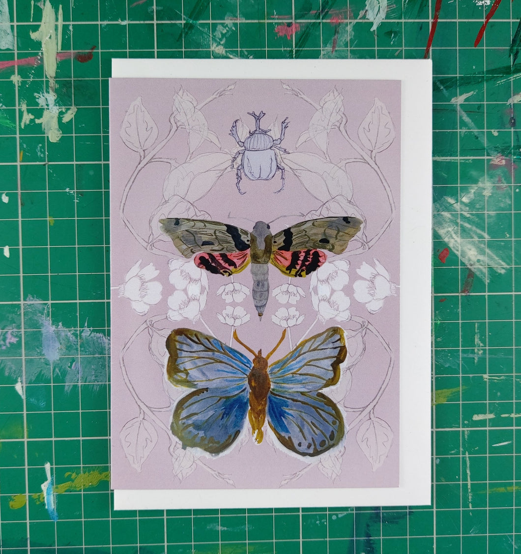 Rhino Beetle, Moth and Butterfly Card