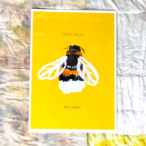 Bee Happy Motivational Print