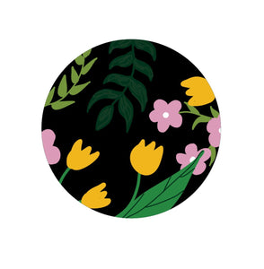 Digital illustration of a black circle on a white background. The circe has different flower and leaf shapes in mustard yellow, warm pink, dark green, lime green and green.