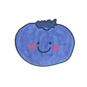 Blue blueberry sticker, featuring dark and mid blue tones. With a simple smiley face and shaded red cheeks for a kawaii look. Behind the sticker is a white background.