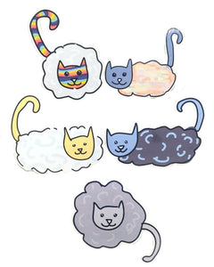 Cat stickers with clouds for bodies and regular heads and tails. The stickers are in a two, two, one formation, on a white background. Each sticker features a different set of colours.