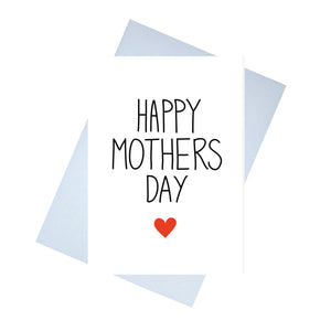 A white card with the words HAPPY MOTHERS DAY across it. HAPPY and DAY are in black, while MOTHER is in different colours, corresponding to the flowers with each letter. Behind the card is a lilac envelope, behind which is a white background.