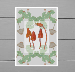 Layered Fungi Art Print - Duck Egg Designs Co
