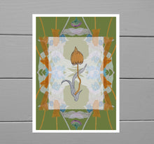 Load image into Gallery viewer, Colourful print featuring fungi above a translucent box, below which is a symmetrical design of warm orange fungi and pale green/blue forget-me-nots. The background of the print is a warm dark lime toned green. Behind the print is a grey wooden plank background.