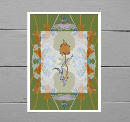 Colourful print featuring fungi above a translucent box, below which is a symmetrical design of warm orange fungi and pale green/blue forget-me-nots. The background of the print is a warm dark lime toned green. Behind the print is a grey wooden plank background.