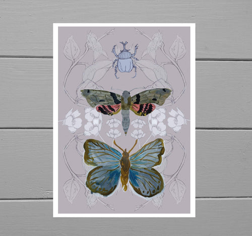 Butterfly, Moth and Rhino Beetle Print with a muted pink background featuring a blue butterfly, a brown, grey and red moth as well as a rhino beetle in front of a buttercup and bindweed frond background. Behind the print is a grey wooden plank background.
