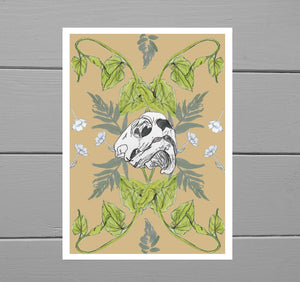 Turtle Skull and Bindweed Print - Duck Egg Designs Co