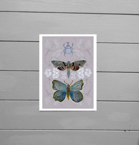 Further out view of the Butterfly, Moth and Rhino Beetle Print with a muted pink background featuring a blue butterfly, a brown, grey and red moth as well as a rhino beetle in front of a buttercup and bindweed frond background. Behind the print is a grey wooden plank background. - Duck Egg Designs Co