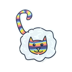 Rainbow cat sticker. Cat sticker with a pale grey and white cloud body, with stripey rainbow head and tail. Behind the sticker is a white background.