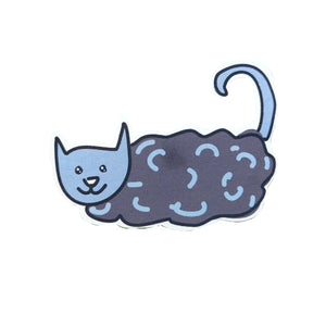 Rainy day cat sticker. The sticker has a dark grey with blue cloud body, with a blue head and tail. Behind the sticker is a white background.