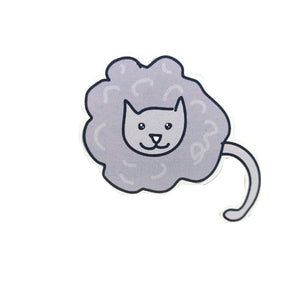 Storm Cloud Cat. Cat sticker with a mid grey and light grey body, and mid grey head and tail. Behind the sticker is a white background.