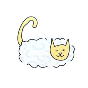 Sunny Day Cloud. Cat sticker inspired by a sunny day, with a white and pale blue cloud body and a warm yellow face and tail.
