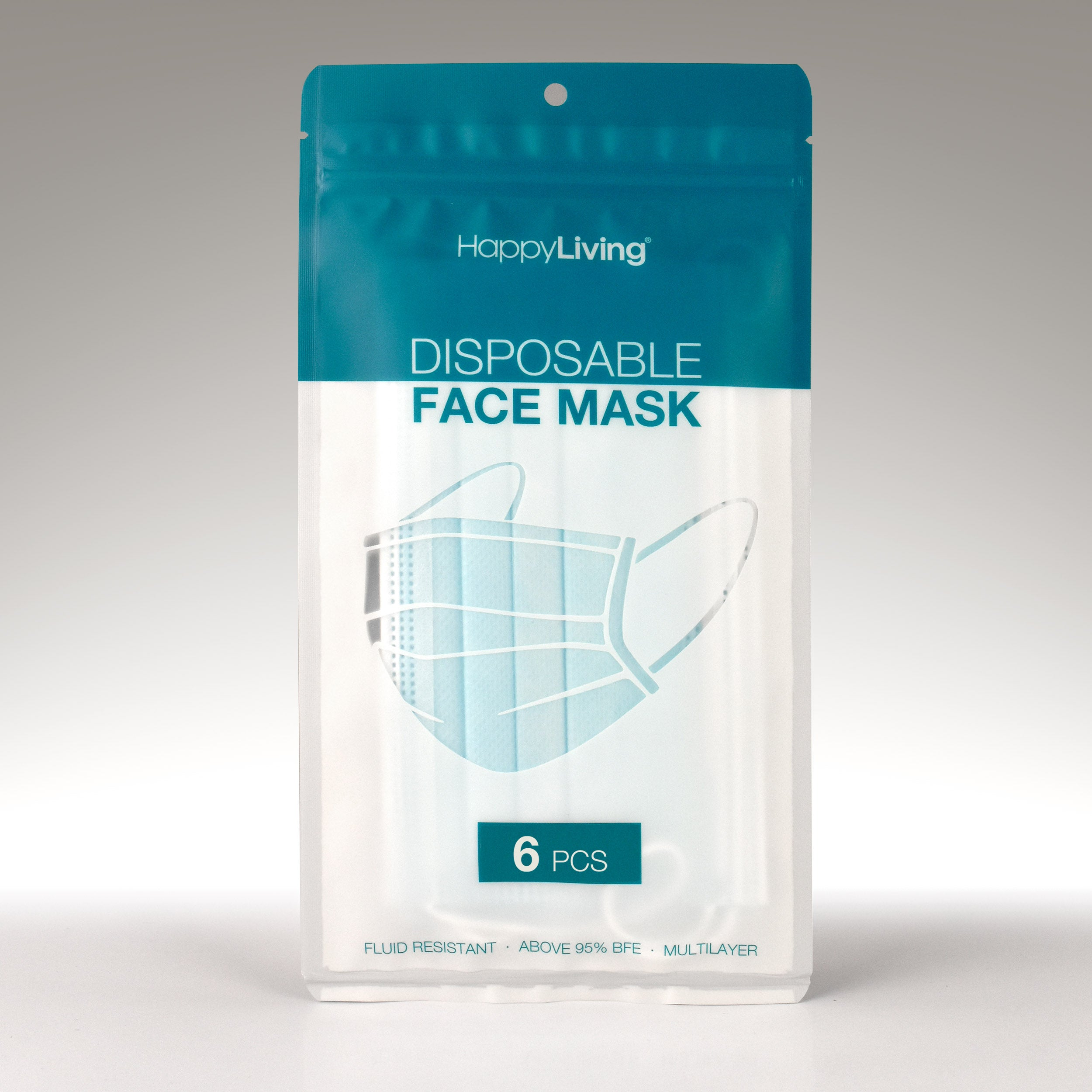 An image of a pack of 6 disposable face mask.