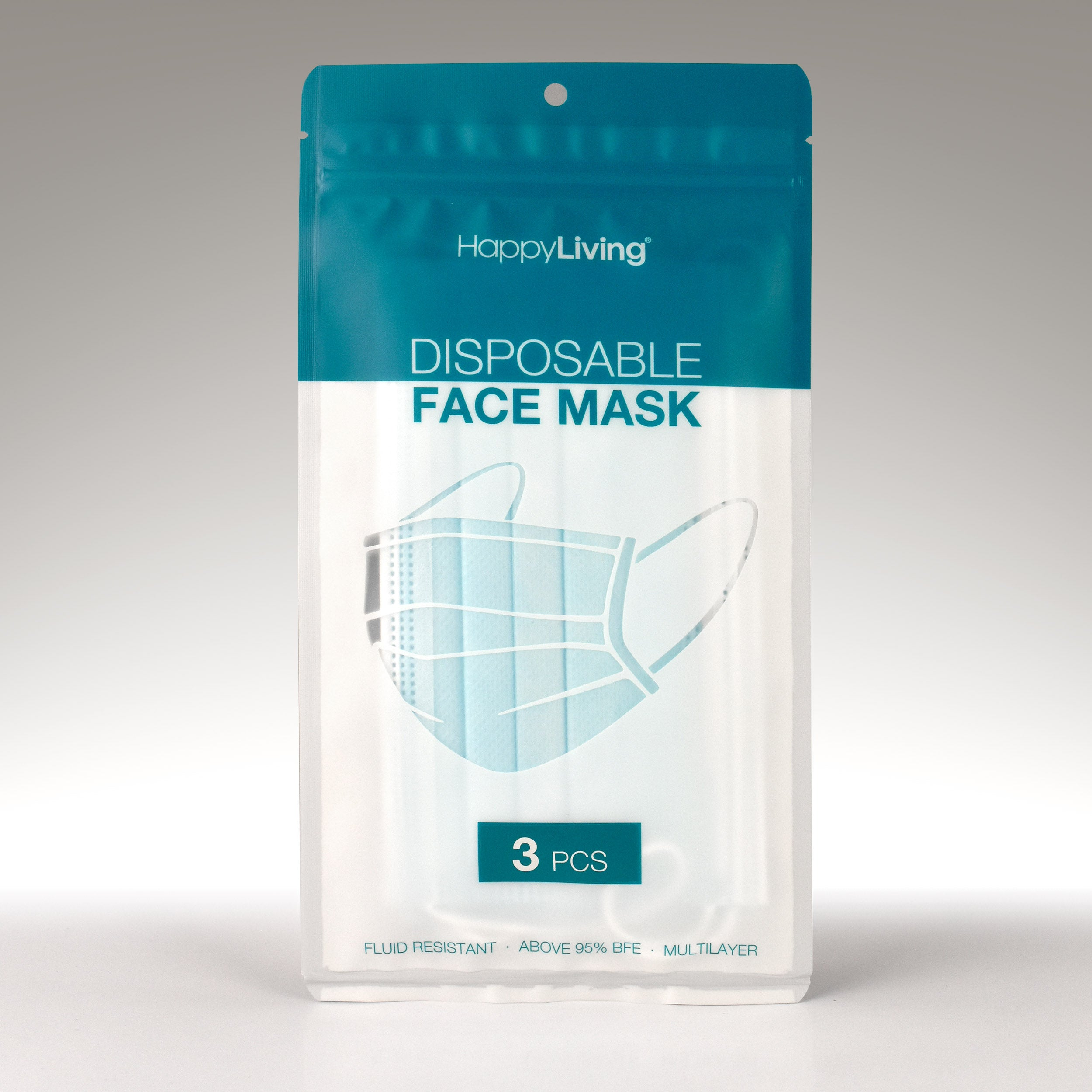 An image of a pack of 3 disposable face mask.