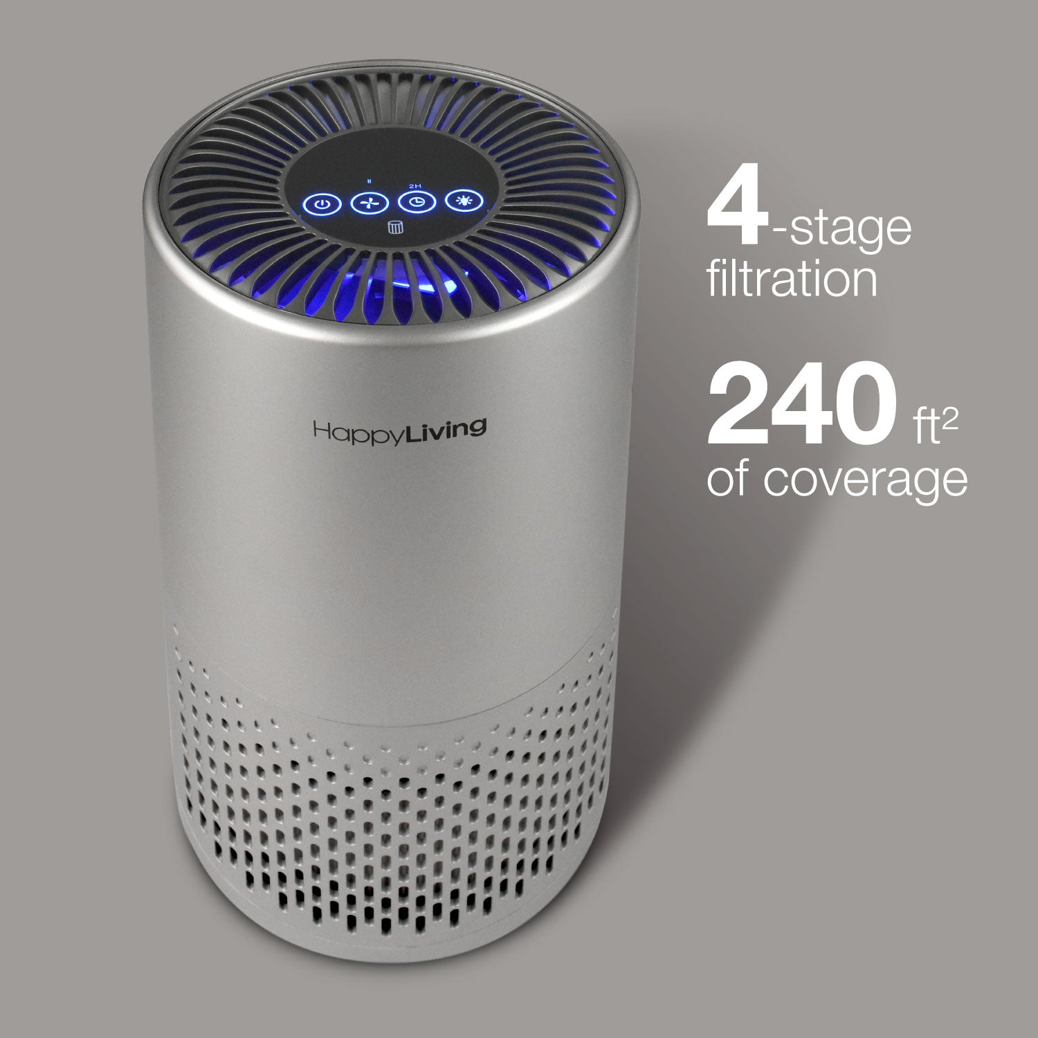 An image showing how the gray air purifier has 4 stages and 240 square feet of coverage.