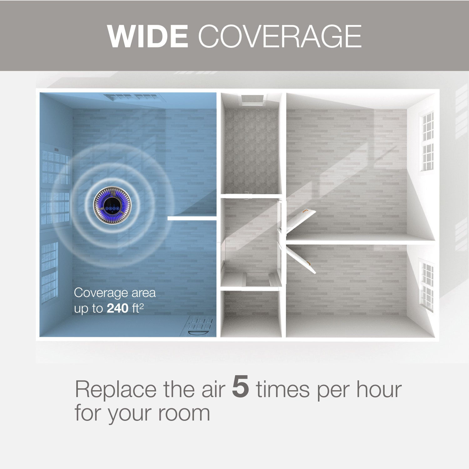 An image of the wide coverage of the air purifier.