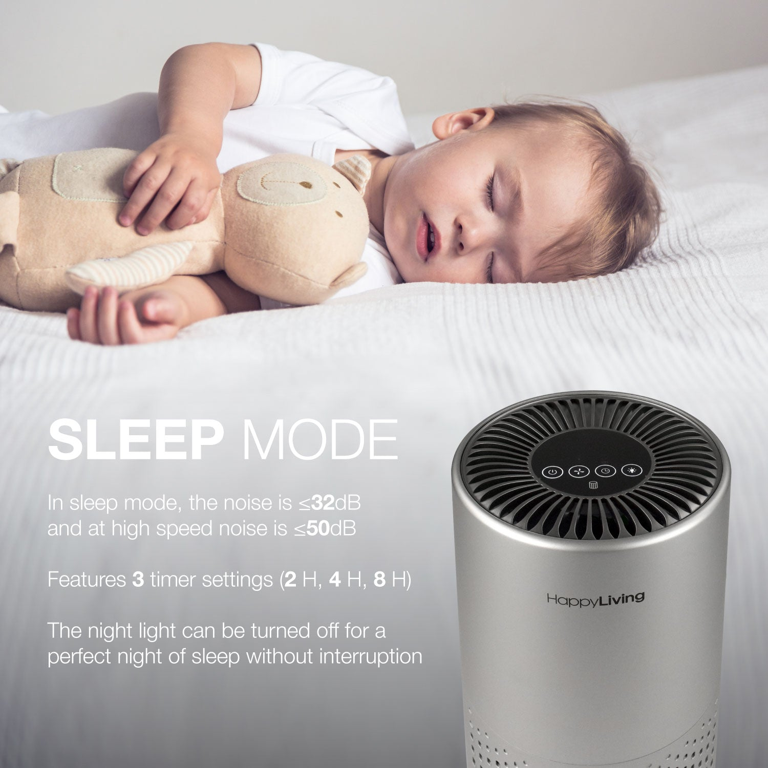 An image showing the sleep mode of the air purifier.