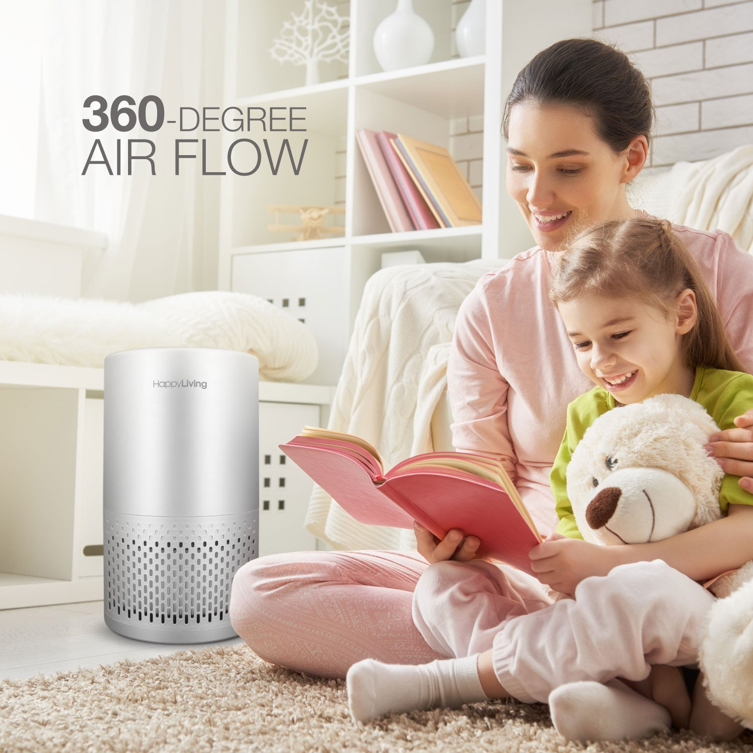 An image of the 360 degree air flow of the air purifier.