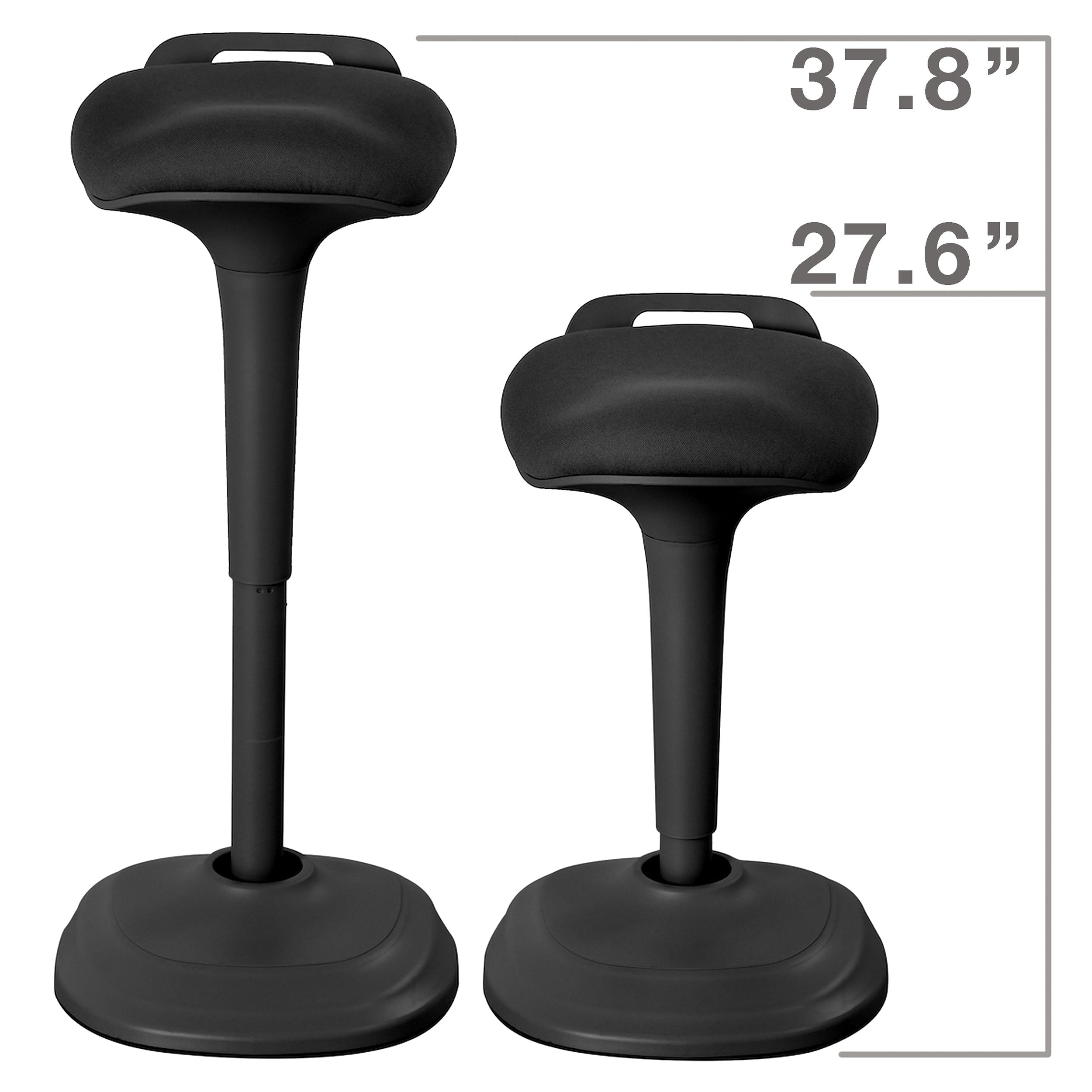 An image of the black wobble chair, showing the amount it can recess. The black wobble chair's height can be changed from 37.8 inches to 27.6 inches and vice versa.