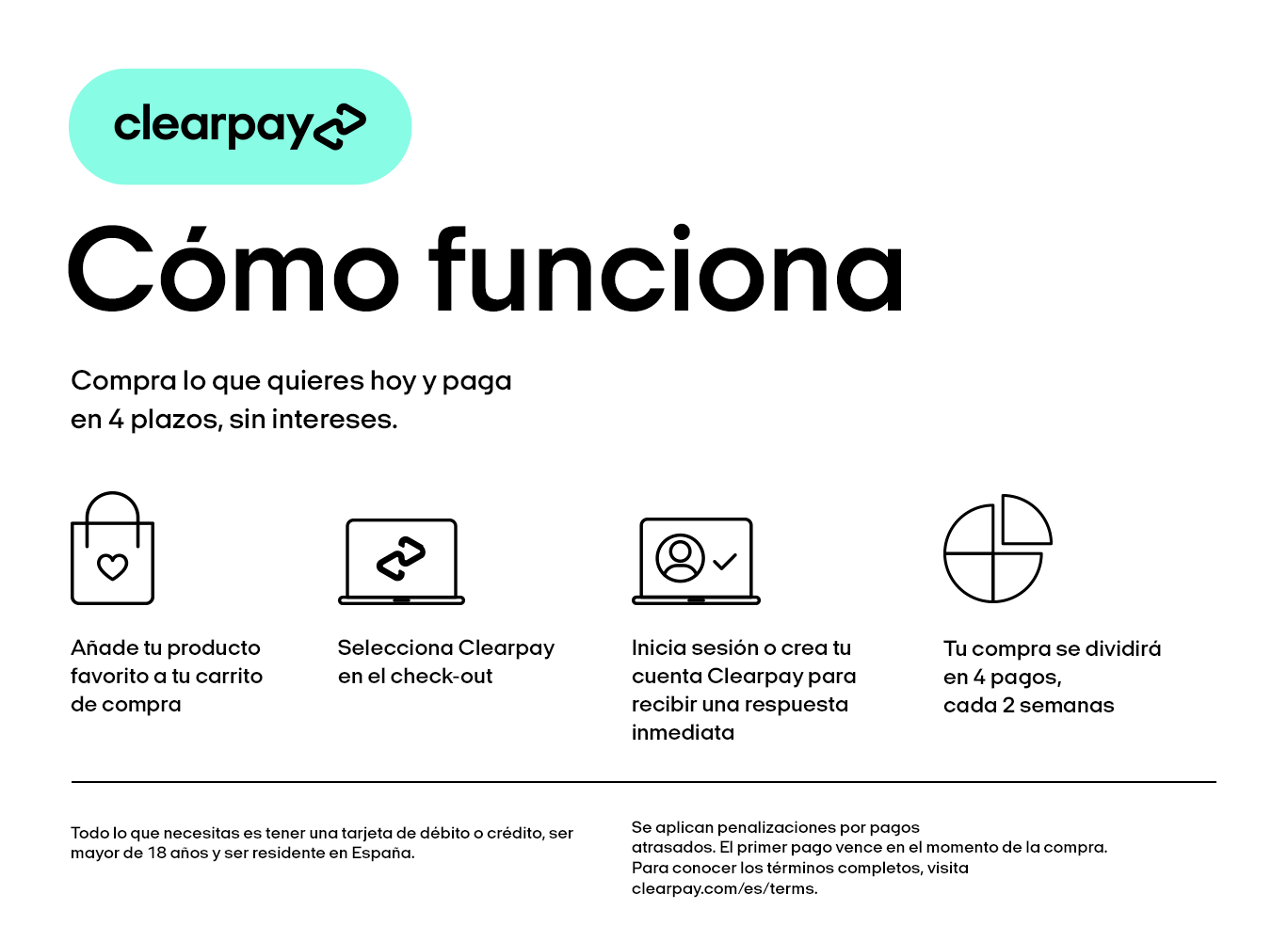 Pago a plazos con Clearpay