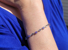 Load image into Gallery viewer, Sterling Silver Clear/Purple Cubic Zirconia Bracelet