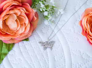 Sterling Silver Cubic Zirconia Antique Butterfly Necklace