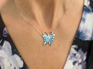 Sterling Silver Blue Lavender Butterfly Necklace