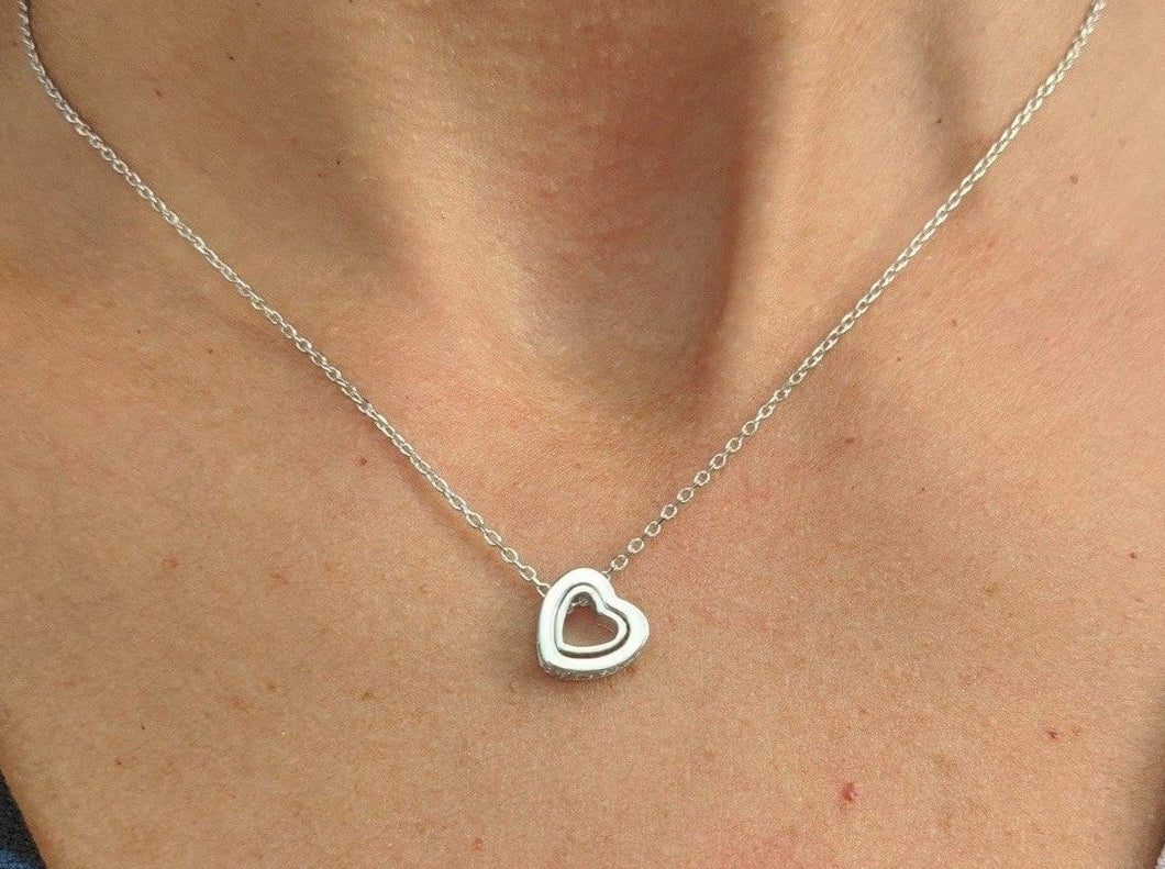 Sterling Silver Heart Necklace with Cubic Zirconia