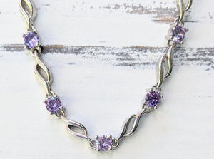 Sterling Silver Clear/Purple Cubic Zirconia Bracelet