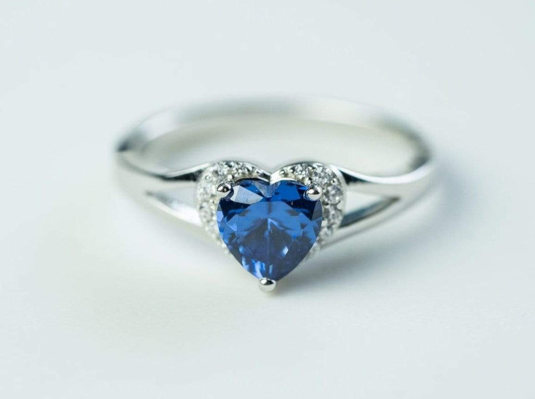 Sterling Silver Heart Shape Cubic Zirconia Ring