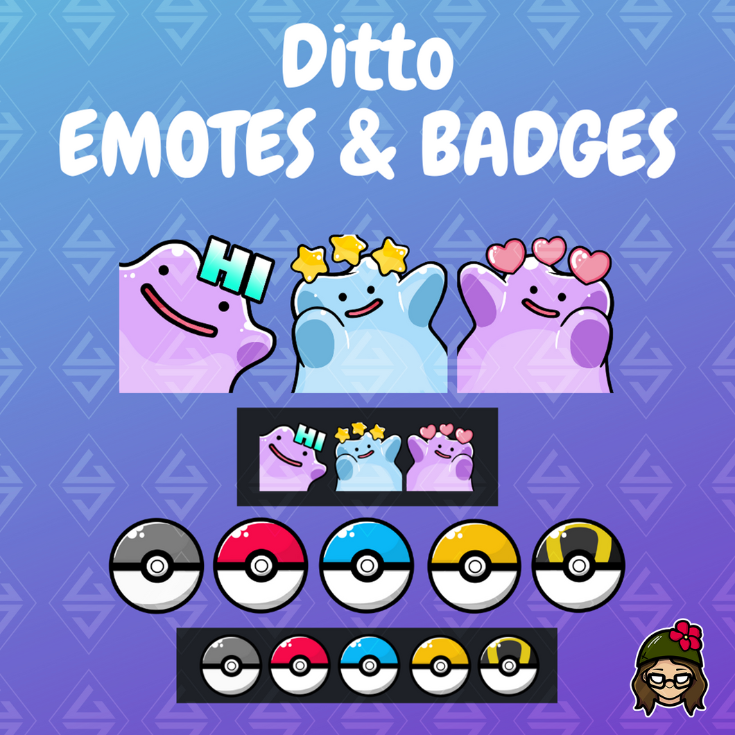 'Ditto' Pokémon Emotes and Sub Badges Pack