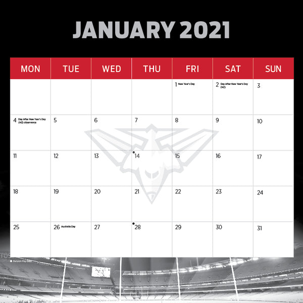 AFL Essendon Bombers 2021 Calendar