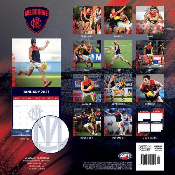 Paper Pocket - AFL Melbourne Demons 2021 Calendar