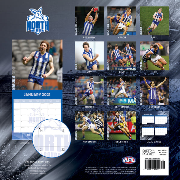 AFL North Melbourne Kangaroos 2021 Calendar