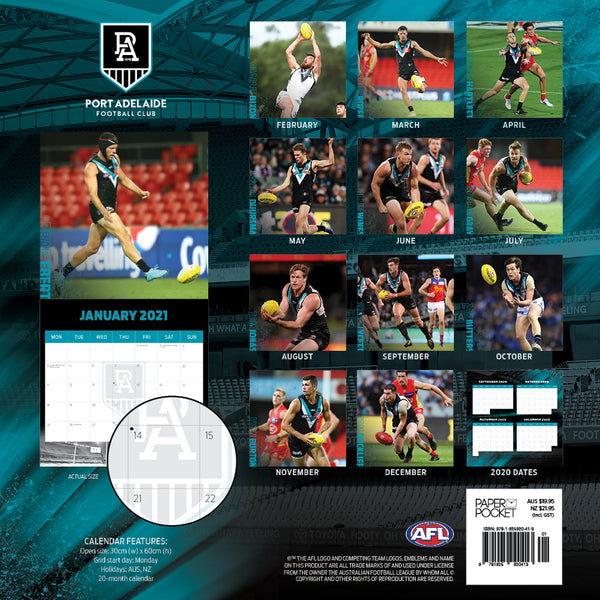 AFL Port Adelaide Power 2021 Calendar
