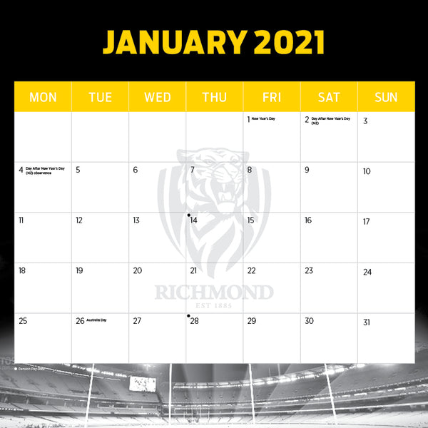 AFL Richmond Tigers 2021 Calendar