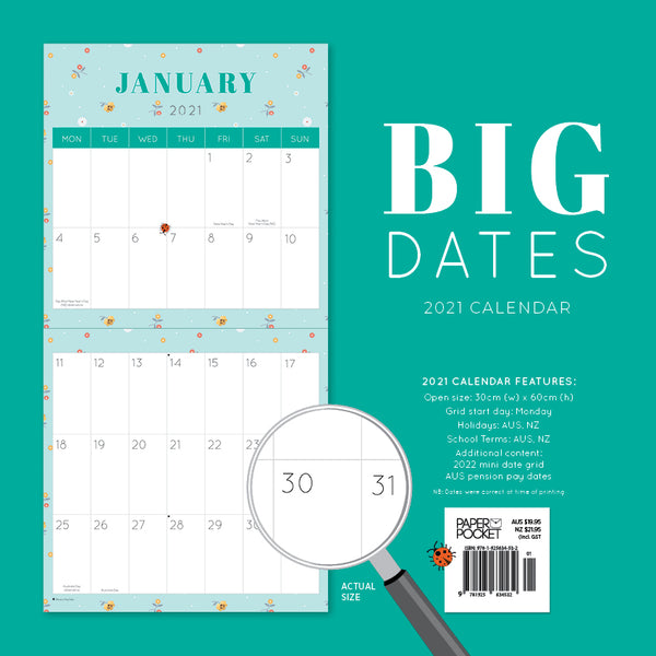 BIG DATES -Easy- to-See 2021 Calendar