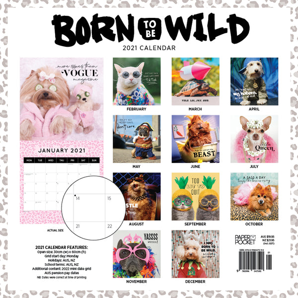 Born to be Wild 2021 Calendar