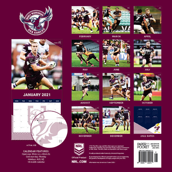 NRL Manly Sea Eagles 2021 Calendar